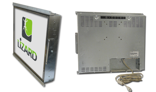 Industrial monitor without a frontal plate